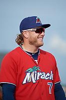 Fort Myers Miracle Travis Blankenhorn (7) during introductions before a Florida State League game against the Charlotte Stone Crabs on April 6, 2019 at Charlotte Sports Park in Port Charlotte, Florida.  Fort Myers defeated Charlotte 7-4.  (Mike Janes/Four Seam Images)