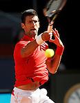Novak Djokovic, Serbia, during Madrid Open Tennis 2016 match.May, 4, 2016.(ALTERPHOTOS/Acero)