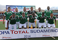 CAJAMARCA - PERU - 20-08-2014: Los jugadores de Deportivo Cali de Colombia, posan para una foto durante partido de ida de la primera fase, llave G13 de la Copa Total Suramericana entre Universidad Tecnologica de Cajamarca de Peru y Deportivo Cali de Colombia en el estadio Héroes de San Ramón, de la ciudad de Cajamarca./  The players of Deportivo Cali of Colombia, pose for a photo during a match for the first round, of the first phase, Key G13 Universidad Tecnologica de Cajamarca of Peru and Deportivo Cali of Colombia, of the Copa Total Suramericana in the Héroes de San Ramón, Stadium in Cajamarca city. Photos: Libero de Lima / Photogamma / VizzorImage.
