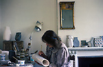 Elizabeth Fritsch in her studio in the Home Counties  1970s