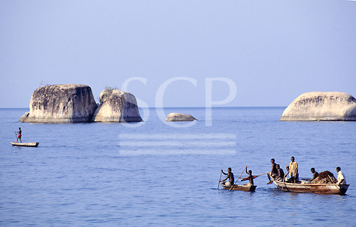 Ninde, Tanzania. Small fishing boats on Lake Tanganyika.