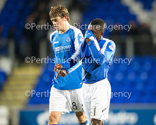 St Johnstone v Motherwell...03.11.12      SPL.Nigel Hasselbaink and Murray Davidson at full time.Picture by Graeme Hart..Copyright Perthshire Picture Agency.Tel: 01738 623350  Mobile: 07990 594431