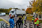 Former Debenhams workers stop a truck from delivering packaging to the Tralee shop on Wednesday.