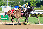 Somebeyay (no. 1) wins the Grade 3 Sanford Stakes for two year olds July 21 at Saratoga Race Course, Saratoga Springs, NY. The winner, ridden by Javier Castellano and trained by Todd Pletcher ran down Strike Silver and won by a neck in the six furlong race against six opponents. (ROBERT SIMMONS/Eclipse Sportswire)