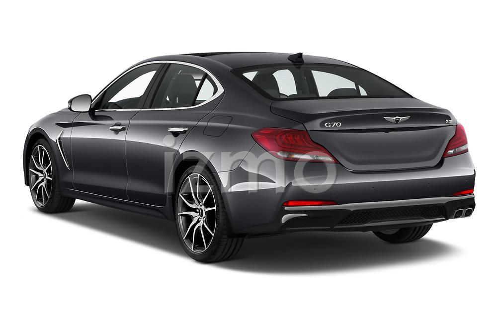 Car pictures of rear three quarter view of 2020 Genesis G70 Prestige 4 Door Sedan Angular Rear