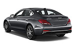 Car pictures of rear three quarter view of 2020 Genesis G70 Prestige 4 Door Sedan Angular Rear