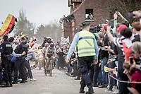 World Champion Peter Sagan (SVK/Bora-Hansgrohe) leading the way exiting the infamous Carrefour de l'arbre<br /> <br /> 116th Paris-Roubaix (1.UWT)<br /> 1 Day Race. Compiègne - Roubaix (257km)