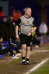 Tranmere Rovers 2  Port Vale 0, 20/03/2019. Prenton Park, League One. Club physiotherapist Les Parry patrols the touchline checking on an injured player at Prenton Park, home of Tranmere Rovers during a match against Port Vale in a English League One fixture. Les Parry has been the club physiotherapist since 1993 and recently completed 800 games with the club. At the time he was also working on completing his PhD at Liverpool John Moores University. Photo by Colin McPherson.