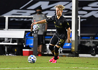 LAKE BUENA VISTA, FL - JULY 18: Bryce Duke #19 of LAFC looks for options with the ball during a game between Los Angeles Galaxy and Los Angeles FC at ESPN Wide World of Sports on July 18, 2020 in Lake Buena Vista, Florida.