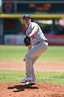 Stockton Ports starting pitcher Matt Milburn (20) delivers a pitch to the plate during a California League game against the Visalia Rawhide at Visalia Recreation Ballpark on May 9, 2018 in Visalia, California. Stockton defeated Visalia 4-2. (Zachary Lucy/Four Seam Images)
