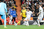 Real Madrid's Marcelo and Borussia Dortmund Pierre-Emerick Aubameyang during the UEFA Champions League match between Real Madrid and Borussia Dortmund at Santiago Bernabeu Stadium in Madrid, Spain. December 07, 2016. (ALTERPHOTOS/BorjaB.Hojas)