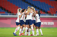 YOKOHAMA, JAPAN - JULY 30: Lynn Williams #21 of the United States celebrates scoring with teammates during a game between Netherlands and USWNT at International Stadium Yokohama on July 30, 2021 in Yokohama, Japan.
