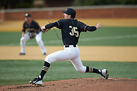 Wake Forest Demon Deacons starting pitcher Morgan McSweeney (35) in action against the Notre Dame Fighting Irish at David F. Couch Ballpark on March 10, 2019 in  Winston-Salem, North Carolina. The Fighting Irish defeated the Demon Deacons 8-7 in 10 innings in game two of a double-header. (Brian Westerholt/Four Seam Images)