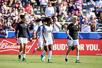 Cary, NC - Sunday October 22, 2017: Carlie Lloyd, Crystal Dunn, and Megan Rapinoe prior to an International friendly match between the Women's National teams of the United States (USA) and South Korea (KOR) at Sahlen's Stadium at WakeMed Soccer Park. The U.S. won the game 6-0.