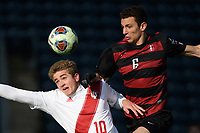 Chester, PA - Sunday December 10, 2017: Justin Rennicks, Adam Mosharrafa during the NCAA 2017 Men's College Cup championship match between the Stanford Cardinal and the Indiana Hoosiers at Talen Energy Stadium.