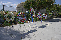 Wreaths of remembrance lay at the entrance of the 9/11 Pentagon Memorial, Washington, D.C., September 08, 2021. <br /> CAP/MPI/RS<br /> ©RS/MPI/Capital Pictures
