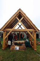 Friday 23 May 2014, Hay on Wye UK<br /> Pictured: A traditional wooden structure on the festival green.<br /> Re: The Telegraph Hay Festival, Hay on Wye, Powys, Wales UK.