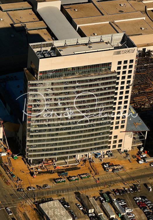 Aerial view of Charlotte's quickly growing downtown.  Picture includes the new NASCAR hall of fame.