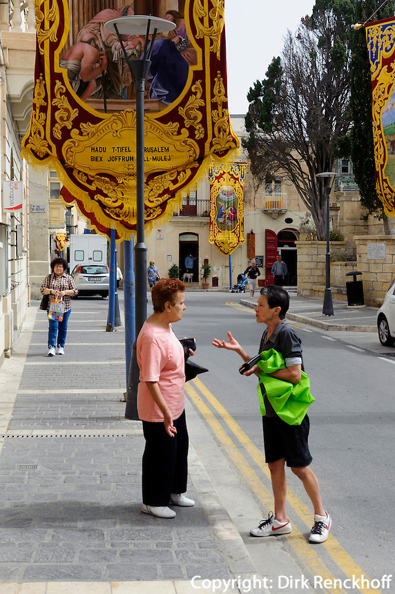 geschmückte Straße in Rabat, Malta, Europa