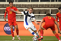 1st September 2021: Helsinki, Finland;   Finlands Fredrik Jensen  and Thomas Alun Lockyer of Wales during the International Friendly Finland versus Wales at the Helsinki Olympic Stadium