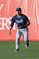 Corpus Christi Hooks right fielder Ramon Laureano (9) fields a hit during a game against the Springfield Cardinals on May 30, 2017 at Hammons Field in Springfield, Missouri.  Springfield defeated Corpus Christi 4-3.  (Mike Janes/Four Seam Images)
