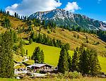 Oesterreich, Salzburger Land, Pongau, Filzmoos: Oberhofalm vor dem Dachsteingebirge   Austria, Salzburger Land, Pongau, Filzmoos: mountain inn Oberhofalm and Dachstein Mountain Range