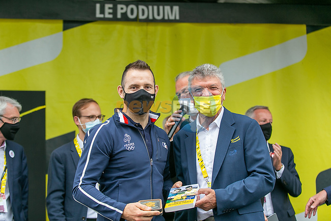 Opening ceremony in the Tour Village with Francois Pervis track cycling champion and Bernard Thevenet ASO before Stage 5 of the 2021 Tour de France, an individual time trial running 27.2km from Change to Laval, France. 30th June 2021.  <br /> Picture: A.S.O./Herve Tarrieu | Cyclefile<br /> <br /> All photos usage must carry mandatory copyright credit (© Cyclefile | A.S.O./Herve Tarrieu)