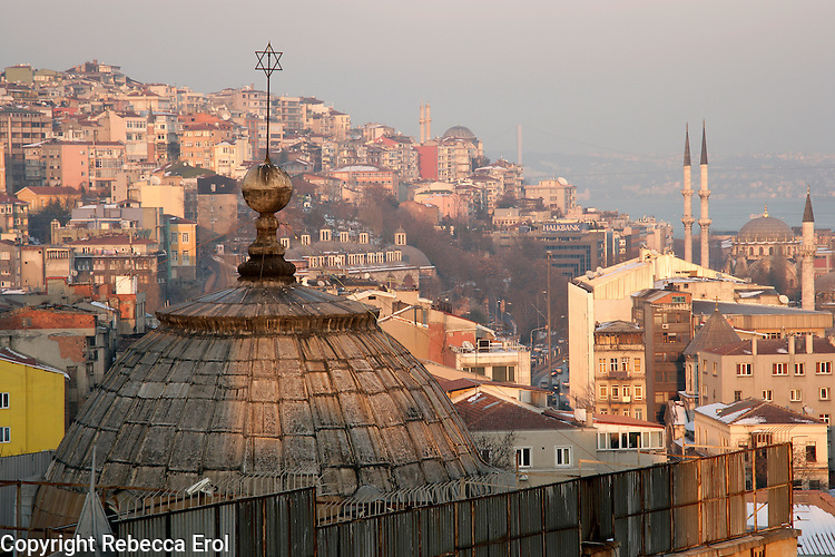 Synagogue rooftop in the Galata neighbourhood of Beyoglu, Istanbul, Turkey