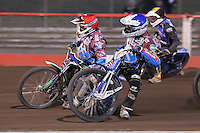 Heat 9: Lewis Bridger (red), Piotr Swiderski (blue) and Rory Schlein (tactical) - Vortex Lakeside Hammers vs Kings Lynn Stars - Sky Sports Elite League Speedway at Arena Essex Raceway, Purfleet - 23/04/13 - MANDATORY CREDIT: Gavin Ellis/TGSPHOTO - Self billing applies where appropriate - 0845 094 6026 - contact@tgsphoto.co.uk - NO UNPAID USE.