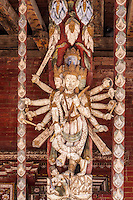 Nepal, Changu Narayan.  Temple Roof Supports in the Form of a Tantric Deity.