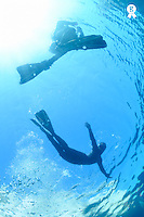 Diver rising to surface and snorkeler (Licence this image exclusively with Getty: http://www.gettyimages.com/detail/93522432 )