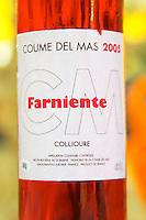 Cuvee Farniente. Domaine Coume del Mas. Banyuls-sur-Mer. Roussillon. France. Europe. Bottle.