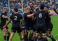 The All Blacks celebrate Aaron Smith's try during the Bledisloe Cup rugby union match between the New Zealand All Blacks and Australia Wallabies at Sky Stadium in Wellington, New Zealand on Sunday, 11 October 2020. Photo: Dave Lintott / lintottphoto.co.nz