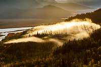 Fall/Autumn landscape of fog, sunrise and clouds over Knik River & Glacier Valley in Southcentral, Alaska.  <br /> <br /> Photo by Jeff Schultz/  (C) 2019  ALL RIGHTS RESERVED<br /> <br /> Bears Glaciers Fall Colors photo tour 2019