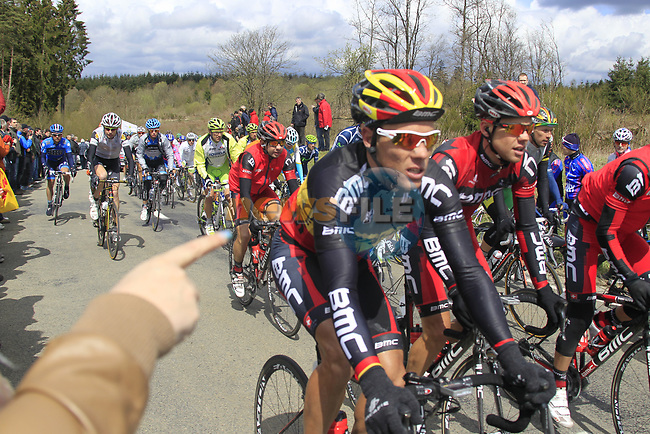The peloton including Belgian National Champion Philippe Gilbert (BEL) BMC Racing Team climb Cote de la Roche-en-Ardenne during the 98th edition of Liege-Bastogne-Liege, running 257.5km from Liege to Ans, Belgium. 22nd April 2012.  <br /> (Photo by Eoin Clarke/NEWSFILE).
