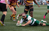 Will Davis of Ealing Trailfinders scores a try during the Greene King IPA Championship match between Ealing Trailfinders and Ampthill RUFC being played behind closed doors due to the COVID-19 pandemic restrictions at Castle Bar , West Ealing , England  on 13 March 2021. Photo by Alan Stanford / PRiME Media Images
