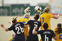US National Team defender and captain Shannon Boxx wins a header over Sweden in an Algarve Cup match in Ferreiras, Portugal on March 1, 2010.