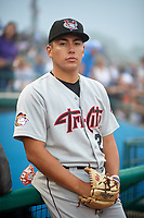 Tri-City ValleyCats pitcher Miguel Figueroa (24) during a fog delay during a NY-Penn League game against the Brooklyn Cyclones on August 17, 2019 at MCU Park in Brooklyn, New York.  The game was postponed due to inclement weather, Brooklyn defeated Tri-City 2-1 in the continuation of the game on August 18th.  (Mike Janes/Four Seam Images)