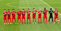Belgian players pictured during the hymn ahead of a soccer game between the national teams Under17 Youth teams of  Norway and Belgium on day 3 in the Qualifying round in group 3 on Tuesday 12 th of October 2020  in Tubize , Belgium . PHOTO SPORTPIX | DAVID CATRY