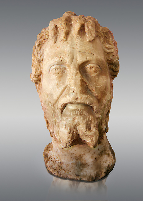 Roman sculpture of the Emperor Septime Severe, excavated  from Choud El Battan sculpted circa 193-211AD. The Bardo National Museum, Tunis, Inv No: C.73.   Against a grey background.