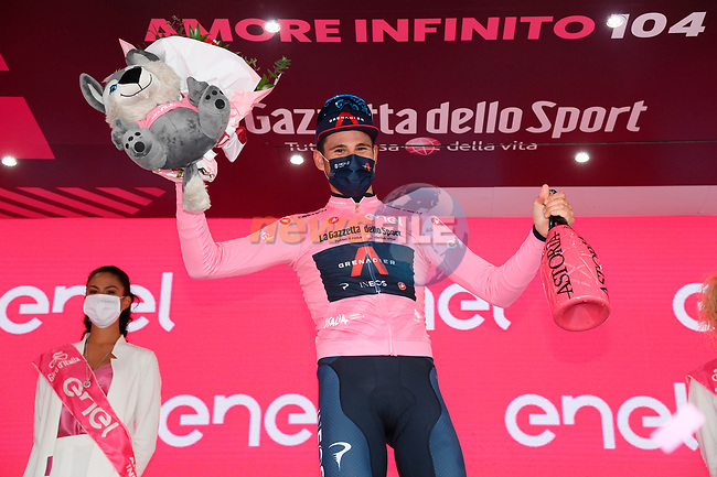 Race leader Filippo Ganna (ITA) Ineos Grenadiers retains the Maglia Rosa at the end of Stage 3 of the 2021 Giro d'Italia, running 190km from Biella to Canale, Italy. 10th May 2021.<br /> Picture: LaPresse/Gian Mattia D'Alberto   Cyclefile<br /> <br /> All photos usage must carry mandatory copyright credit (© Cyclefile   LaPresse/Gian Mattia D'Alberto)