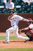 Michael Broad #8 of the Miami Hurricanes connects for a solo home run against the Florida State Seminoles at the 2010 ACC Baseball Tournament at NewBridge Bank Park May 26, 2010, in Greensboro, North Carolina.  The Hurricanes defeated the Seminoles 9-3.  Photo by Brian Westerholt / Four Seam Images