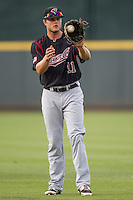 Sacramento River Cats outfielder Nick Buss (11) warms up before the Pacific Coast League baseball game against the Round Rock Express on June 19, 2014 at the Dell Diamond in Round Rock, Texas. The Express defeated the River Cats 7-1. (Andrew Woolley/Four Seam Images)