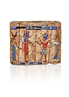 Ancient Egyptian fragments of a small wooded glass inlayed box depicting Egyptian Pharaohs , Ptolemaic Period, (322-30BC) BC, Tebtynis. Egyptian Museum, Turin. Cat 18155.