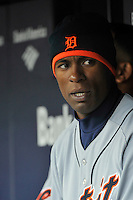 Apr 02, 2011; Bronx, NY, USA; Detroit Tigers outfielder Austin Jackson (14) during game against the New York Yankees at Yankee Stadium. Yankees defeated the Tigers 10-6. Mandatory Credit: Tomasso De Rosa