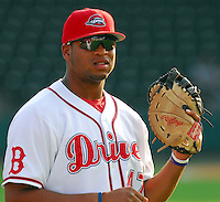 15 Aug 2007:  Michael Jones of the Greenville Drive, Class A affiliate of the Boston Red Sox, in a game against the Lakewood Blueclaws, a Philadelphia Phillies affiliate, at West End Field in Greenville, S.C. Photo by:  Tom Priddy/Four Seam Images