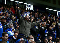A Leicester City fan with a wig celebrates during the Barclays Premier League match between Leicester City and Swansea City played at The King Power Stadium, Leicester on 24th April 2016