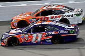 Monster Energy NASCAR Cup Series<br /> Pure Michigan 400<br /> Michigan International Speedway, Brooklyn, MI USA<br /> Sunday 13 August 2017<br /> Denny Hamlin, Joe Gibbs Racing, FedEx Office Toyota Camry and Daniel Suarez, Joe Gibbs Racing, ARRIS Surfboard / McAfee Toyota Camry<br /> World Copyright: Rusty Jarrett<br /> LAT Images