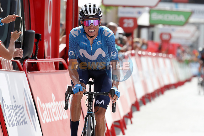 Enric Mas (ESP) Movistar Team crosses the finish line in 2nd place at the end of Stage 11 of La Vuelta d'Espana 2021, running 133.6km from Antequera to Valdepeñas de Jaén, Spain. 25th August 2021.     <br /> Picture: Luis Angel Gomez/Photogomezsport | Cyclefile<br /> <br /> All photos usage must carry mandatory copyright credit (© Cyclefile | Luis Angel Gomez/Photogomezsport)