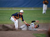 Boca Ciega Pirates second baseman Kaemic Brown (1) stretches for a throw as Jaime Robles (24) slides in during a game against the Lakeland Spartans at Boca Ciega High School on March 2, 2016 in St. Petersburg, Florida.  (Copyright Mike Janes Photography)
